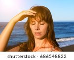young woman with heatstroke.... | Shutterstock . vector #686548822