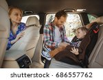 travel by car family trip... | Shutterstock . vector #686557762