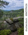 "Small photo of View from ""Mariina vyhlídka"". Landscape with rocks and forests."