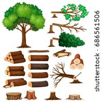 tree and stump trees... | Shutterstock .eps vector #686561506