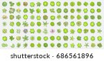vector set. trees top view.... | Shutterstock .eps vector #686561896