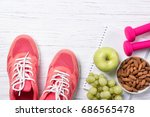 fitness and healthy eating...   Shutterstock . vector #686565478