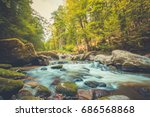 beautiful river in forest... | Shutterstock . vector #686568868