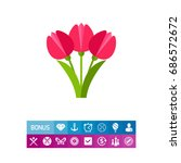 bouquet of pink tulips vector... | Shutterstock .eps vector #686572672
