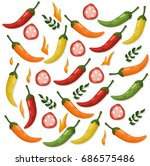 hot chili peppers pattern... | Shutterstock .eps vector #686575486