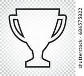 trophy cup flat vector icon in...