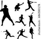 baseball silhouettes collection ... | Shutterstock .eps vector #686580178