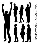 vector  isolated silhouette of... | Shutterstock .eps vector #686582746