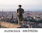 tourist making photo of the...   Shutterstock . vector #686598286