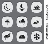set of 9 editable weather icons....