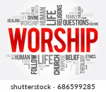 worship word cloud collage ... | Shutterstock .eps vector #686599285