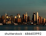midtown manhattan skyline at... | Shutterstock . vector #686603992