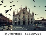 pigeon at cathedral square or... | Shutterstock . vector #686609296