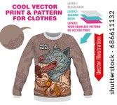 print swag wolf rapper. vector... | Shutterstock .eps vector #686611132
