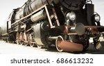 steam locomotive with tender .... | Shutterstock . vector #686613232