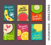 hello summer template set  for... | Shutterstock .eps vector #686613466