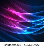 energy lines  glowing waves in...   Shutterstock .eps vector #686613922