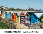bathing boxes in a beach... | Shutterstock . vector #686615722