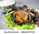 soy sauce marinated crab korean ... | Shutterstock . vector #686619532