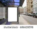 blank billboard mockup inside... | Shutterstock . vector #686628598