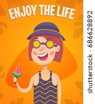 funny woman  summer concept ... | Shutterstock .eps vector #686628892