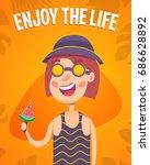 funny woman  summer concept ... | Shutterstock .eps vector #686628892