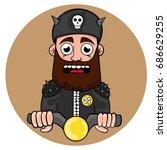 cartoon funny biker with a...   Shutterstock .eps vector #686629255