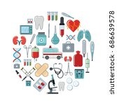 medicine cartoon icons set on... | Shutterstock .eps vector #686639578