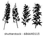 set of silhouette orchid... | Shutterstock .eps vector #686640115