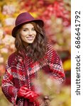 woman in coat with hat and... | Shutterstock . vector #686641792