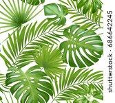 exotic leaves  rainforest.... | Shutterstock . vector #686642245
