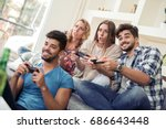young friends play games  play... | Shutterstock . vector #686643448
