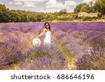provence young woman with white ...   Shutterstock . vector #686646196