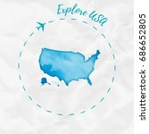 usa watercolor map in turquoise ... | Shutterstock .eps vector #686652805