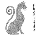 cat art zen tangle style | Shutterstock .eps vector #686657755