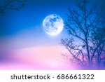 night landscape of colorful sky ... | Shutterstock . vector #686661322