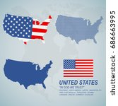 four types of american map and... | Shutterstock .eps vector #686663995