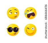 vector set of cute smiley... | Shutterstock .eps vector #686666656