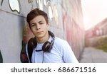 stylish young man in headphones ... | Shutterstock . vector #686671516