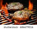 grilled pork steak with... | Shutterstock . vector #686679016