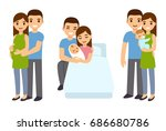 cute cartoon young couple... | Shutterstock . vector #686680786