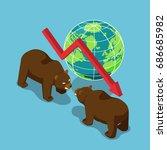 flat 3d isometric bears... | Shutterstock .eps vector #686685982