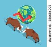 flat 3d isometric bulls... | Shutterstock .eps vector #686686006