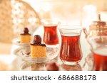 turkish tea in traditional... | Shutterstock . vector #686688178