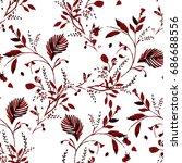 Stock vector flower pattern art illustration print summer leaf vector 686688556