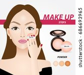 how to applying make up powder... | Shutterstock .eps vector #686693965