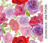 wildflower rosa flower pattern...   Shutterstock . vector #686709286