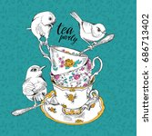 tea party invitation card with... | Shutterstock .eps vector #686713402
