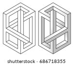 impossible figures  line and... | Shutterstock .eps vector #686718355