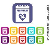 valentines day calendar icons... | Shutterstock . vector #686726866